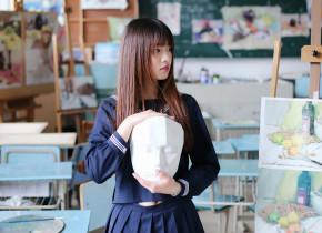 清纯刘海美少女学生妹甜美写真图片   让人看了心动不已